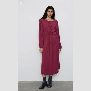 ZARA KNOTTED SILKY DRESS IN RASPBERRY - SIZE XS